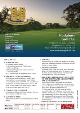 Monkstown Golf Club Scorecard Front